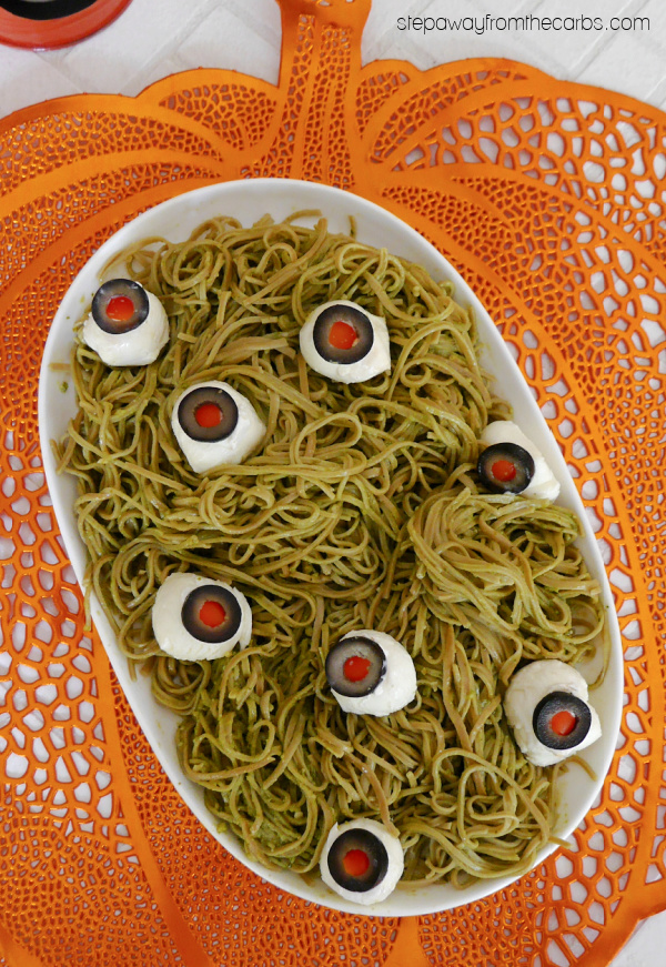 "Low Carb Halloween ""Eyeball"" Spaghetti - with keto edamame noodles"