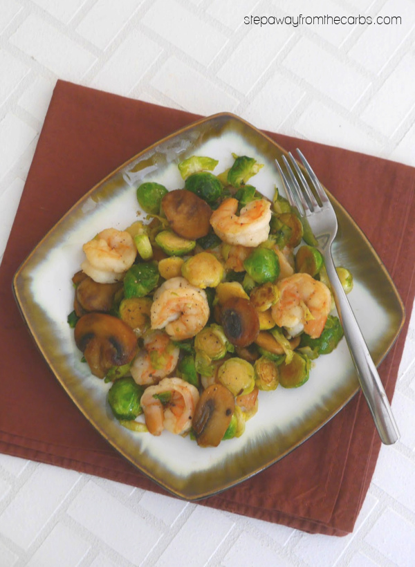Shrimp with Brussels Sprouts and Mushrooms - a delicious low carb recipe!
