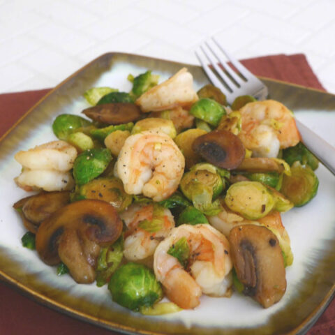 Shrimp with Brussels Sprouts and Mushrooms